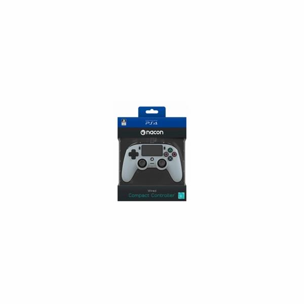 Nacon Wired Compact Controller - ovladač pro PlayStation 4 - šedý