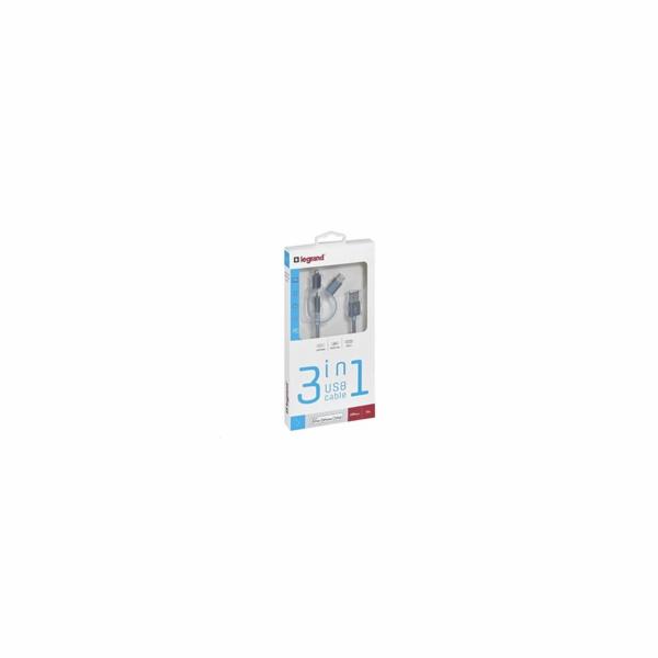 Legrand USB kábel 3v1 - 1xLightning, 1x Micro USB, 1x USB typ C