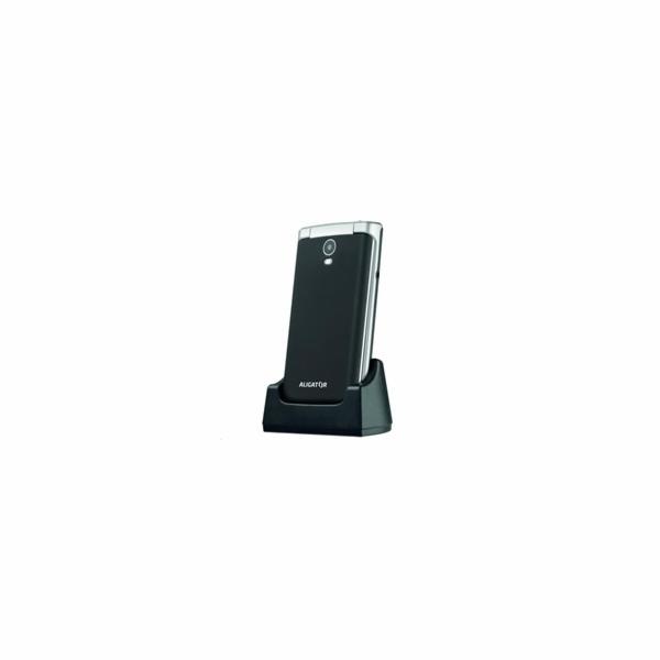 Aligator V710 Senior, Dual SIM, černá-stříbrná + nabíjecí stojánek