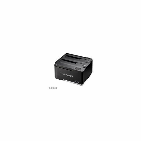 """BAZAR AKASA HDD box DuoDock X, 2x 3,5"""" + 2,5"""" SATA HDD/SSD, USB 3.0, disk duplicator, černý (poškozený obal)"""