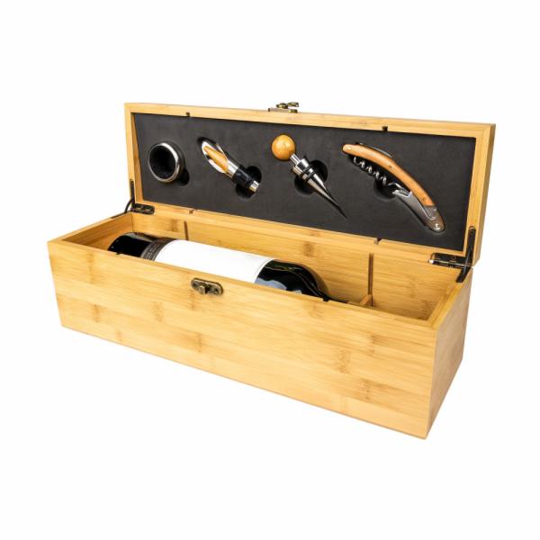 Aperiti Dřevěná krabička na víno s příslušenstvím
