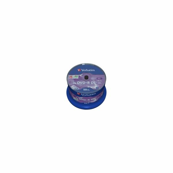 1x50 Verbatim DVD+R Double Layer 8x Speed, 8,5GB matne stribrna
