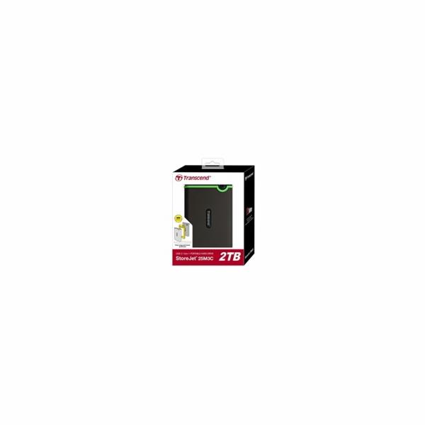 """TRANSCEND 2TB StoreJet 25M3C SLIM, 2.5"""", USB-C (3.1 Gen 1) Externí Anti-Shock disk, tenký profil, šedo/zelený"""