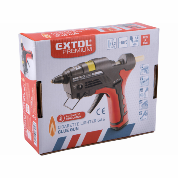 Pistole tavná lepící, na plyn do zapalovačů, Ř11mm EXTOL-PREMIUM