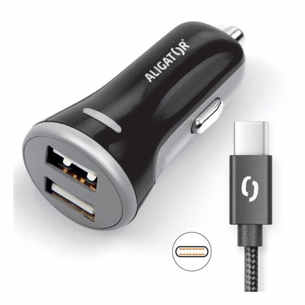 ALI AN 3,4A,2xUSB,USB-C,černá CHS0008