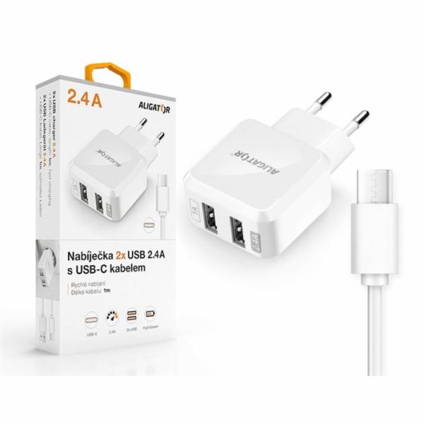 ALI CN 2,4A,2xUSB,USB-C,bílá CHA0018