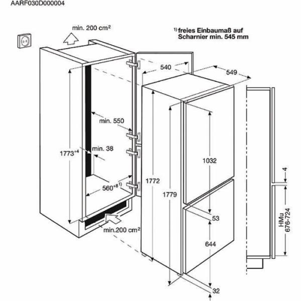 Electrolux ENN 12801AW vestavná kombinovaná chladnička