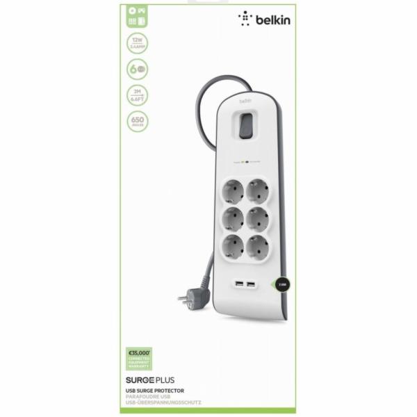 Belkin Surge Plus prepetova ochrana 6-zasuv. + 2 x USB 2,4A