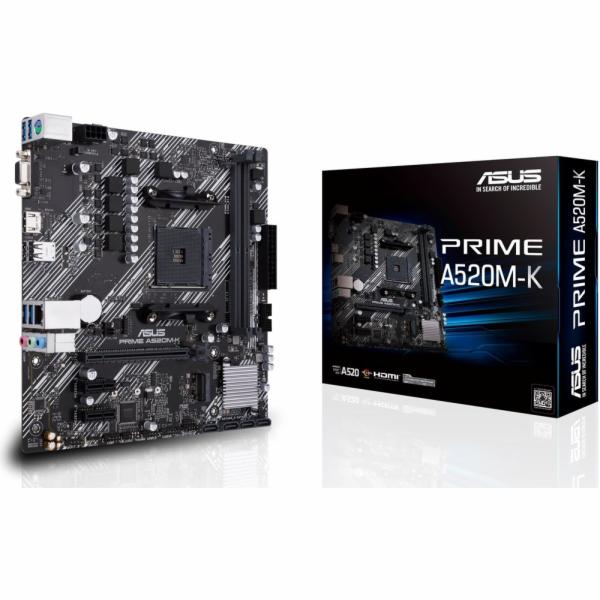 ASUS MB Sc AM4 PRIME A520M-K, AMD A520, 2xDDR4, 1xHDMI, 1xVGA, mATX