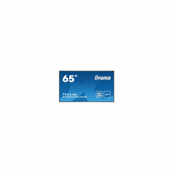"65"" iiyama LH6542UHS-B1: IPS, 4K UHD, 500cd/m2, 18/7, LAN, Android 8.0, černý"