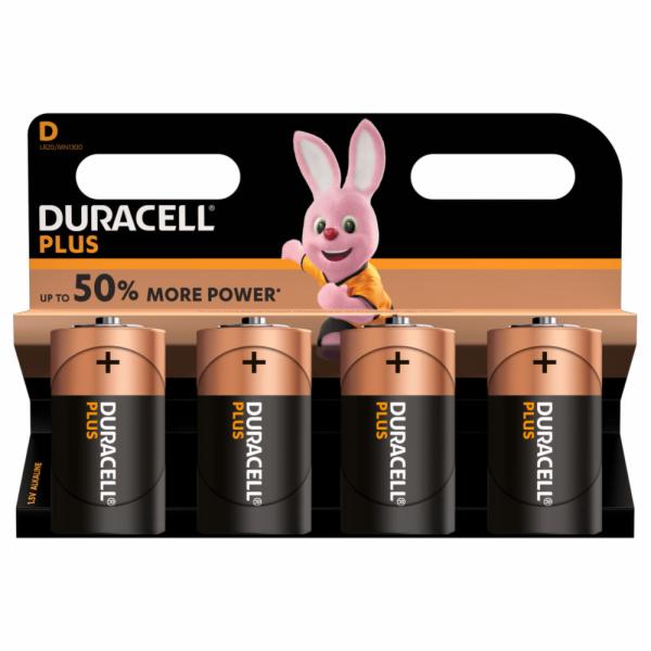 Duracell Plus LR20 baterie velké mono D alkalicko-manganová 1.5 V 4 ks