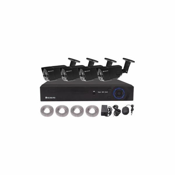 Kamerový set Securia Pro NVR4CHV2-B NVR + POE napájení, 4 FullHD kamery - černá