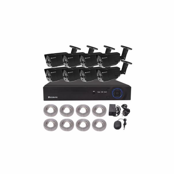 Kamerový set Securia Pro NVR8CHV2-B NVR + POE napájení, 8 HD kamery - černá
