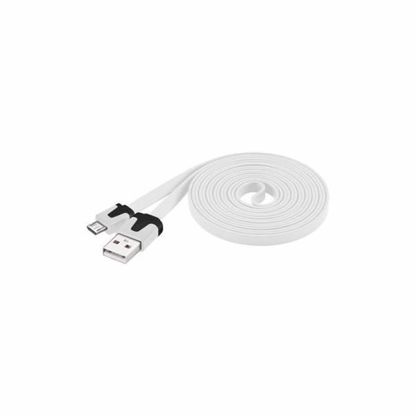 Kabel micro USB 2.0, A-B 2 m, plochý PVC kabel, bílý