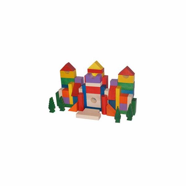 Kostky EkoToys dřevěné barevné 50 ks