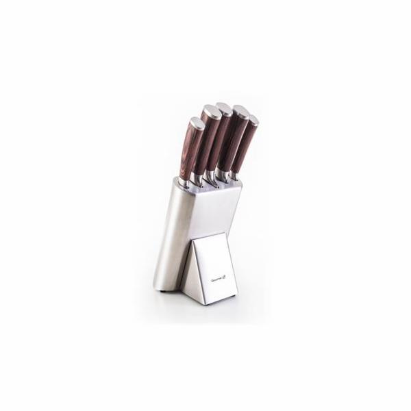 Sada nožů G21 Gourmet Steely 5 ks + nerez blok