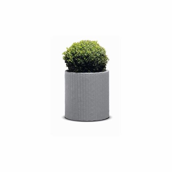 Květináč Keter Cylinder L Silver Grey