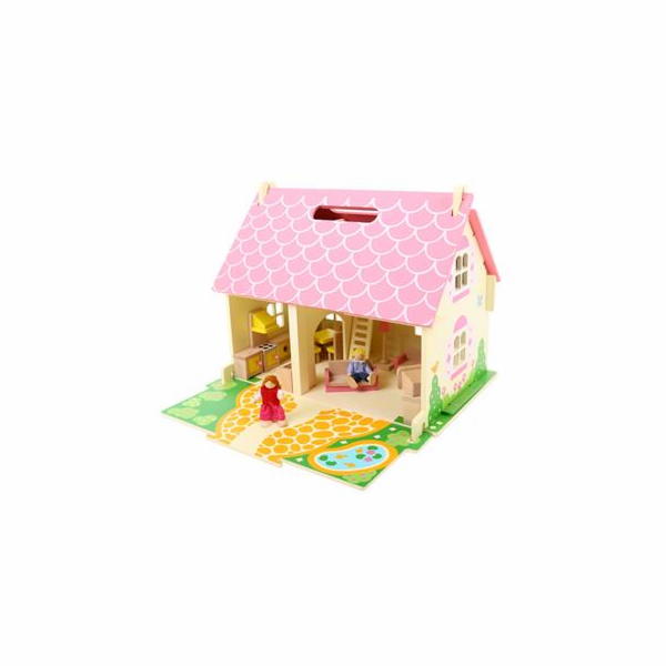 Hračka Bigjigs Toys Přenosný dřevěný domeček pro panenky