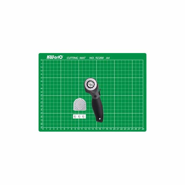 Sada KW-triO řezací podložka A4 + řezací kolečko + náhradní břity rovné - výhodná cena