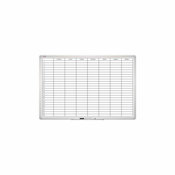 Tabule 2x3 plánovací týdenní magnetická 60 x 90 cm, hliníkový rám, český popis