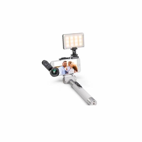Balíček Miggo PICTAR čočka, světlo a Selfie tyč bílá