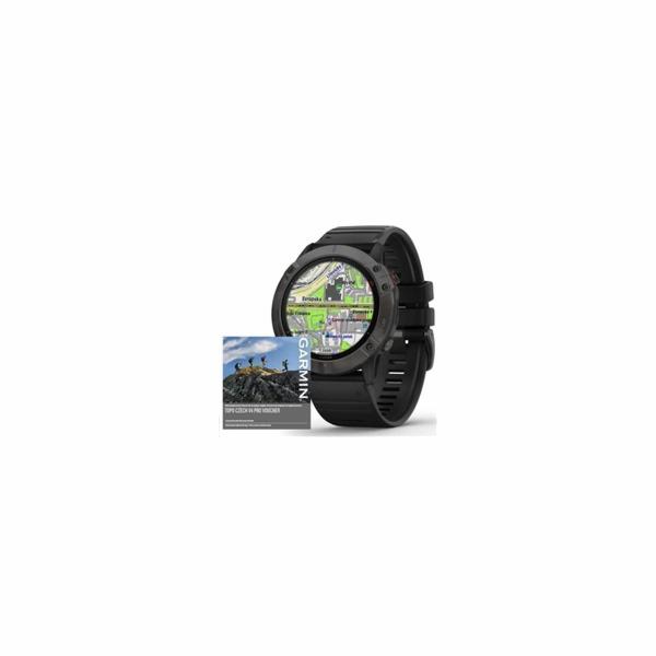 Garmin GPS sportovní hodinky fenix6X PRO Solar, TitaniumGrayDLC/Black Band (MAP/Music)