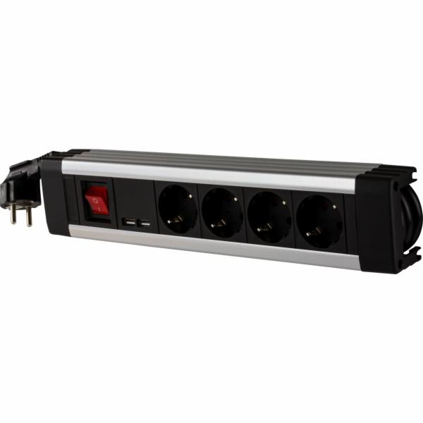 REV el.prodluzovacka 4x zás.+KS USB SupraLine vypínac cerná