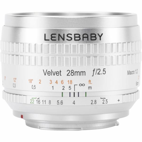 Lensbaby Velvet 28 stribrna Canon EF