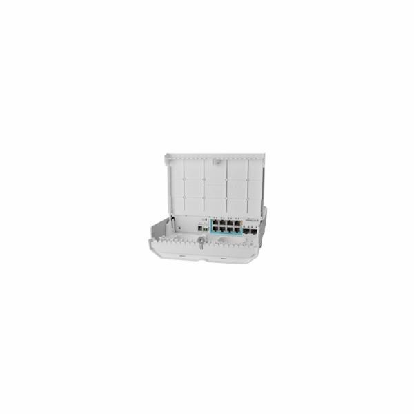 MikroTik CSS610-1Gi-7R-2S+OUT reverzní PoE switch, 8x Gigabit, 2x SFP+, 1x PoE out, 7x PoE in, 56Gbps