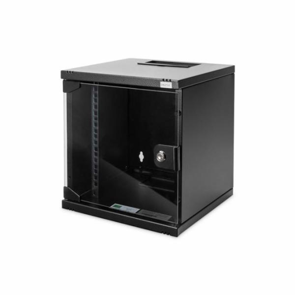 """DIGITUS 54 mm (10 """") 6U nástěnná skříňka 330x312x300 mm, barva černá (RAL 9005)"""