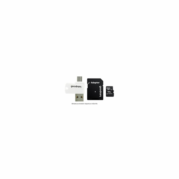 GOODRAM microSDXC karta 64GB M1A4 All-in-one (R:100/W:10 MB/s), UHS-I Class 10, U1 + Adapter + OTG card reader/čtečka