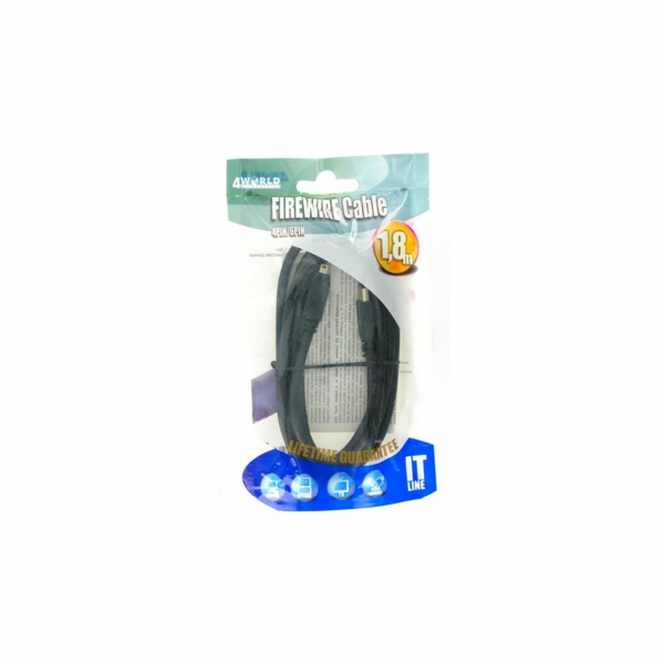 4World Kabel FireWire IEEE 1394 6 pin na 4 pin 1.8m - retail
