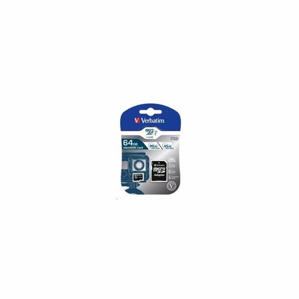 VERBATIM Pro U3 Micro SecureDigital SDHC/SDXC 64GB + SD Adaptér